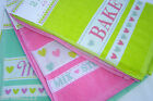 100% Cotton Kitchen Hand Towels.  Set of 2 in Bright Fun Colours