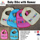NEW Best Baby Names Bib | Easy Dribble Apron  | Cotton Velcro Strap | Girl Pink