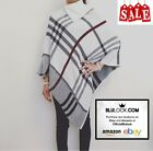 New Womens Checked Tartan Knitted Poncho High Neck Shawl Wrap Cape - **Sale**