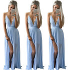 Women Summer Boho Long Maxi Evening Party Dress Beach Dresses Chiffon Dress tb