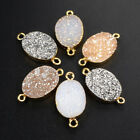 1Pcs 16x12mm Rainbow Titanium Natural Agate Druzy Gold Plated Connector HG1073