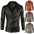 Mens Casual Coat PU Leather Jacket Slim Fit Coat Winter Autumn Outerwear NEW