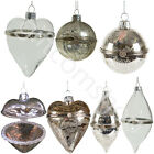 Glass Trinket Silver Crackle Christmas Tree Bauble Hanging Decoration Xmas Gift