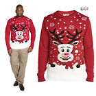 Duke D555 Rudolph Mens 3D Nose Christmas Melody Player Crew Neck Knitted Jumper