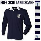 Scotland Rugby Shirt Retro Fans Jersey Thistle Logo Mens 6 Nations *FREE SCARF*