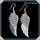 GORGEOUS LARGE ANGEL WING EARRINGS WITH STERLING SILVER HOOKS. GIFT BOX OR POUCH