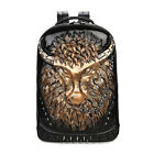 3D Men Cool Bull Chain Backpack School Shoulder Lap Top Bag Synthetic Leather