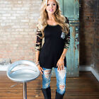 Stylish Women's 3/4 Sleeve Round Neck Slim Casual Blouse Camouflage Tops T-Shirt