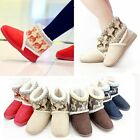 Women Winter Mid Calf Snow Boots Girl Reindeer Xmas SKI Thicken Fur Ankle Shoes