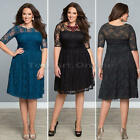 Women Bodycon Lace Long-sleeved Plus Size Cocktail Evening Party Dress 2XL 3XL 1