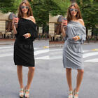New Fashion Women Long Sleeve Off Shoulder Dress Elegant Slim Bottoming Dress