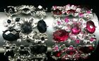 NEW Womens Girls Black Fuchsia Pink Rhinestone Bangle Bracelet Fashion Accessory