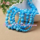 "Round Smooth Skyblue Candy Jade Gemstone Jewelry Making Beads 15"" 6mm 8mm 10mm"