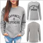 Women Casual Pulover Sweater Fleece Tops Letter Round Neck Boyfriend Sweatshirt
