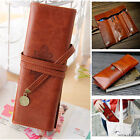 Vintage Roll Cosmetic Pouch Pocket Brush Holder Makeup Pencil Pen Case Bag New