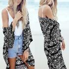Women Casual Loose Long Shirts V Neck Floral Beach Tops Blouse Outerwear