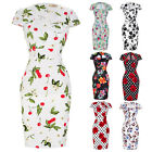 Women Vintage Retro 50s Floral Pencil Dress Formal Party Bodycon Evening Dresses