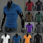 Fashion Men's Loose Collar Slim Fit POLO Short-sleeved T-shirt 10-Colors 5-Size