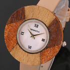 Fashion Women's Lady Wood Alloy Case Leather Quartz Wrist Watch Bracelet NEW