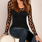 Womens Ladies Autumn Long Sleeve Mesh Tops Crew Neck Lace Blouse T Shirt Tee