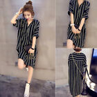 Women's Chiffon Loose Sheer Button Down Striped Casual Top Blouse Shirt Dress