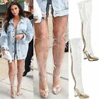 New Womens Ladies Over The Knee Clear Perspex Thigh High Boots Party Shoes Size