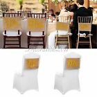 """Gold Mr&Mrs Burlap Chair Sash Banner Sign Rustic Wedding Party Decoration 9""""x14"""""""