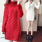 Winter Womens Turtleneck Pullover Long Sweater Knitwear Jumpers Thick Warm Coats
