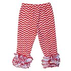 Girls Red Chevron Icing Ruffle Leggings Pants