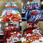 1 3D Christmas Santa Claus Queen King double Bed Quilt/Duvet Sheet Cover Set