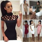 Womens Gown Party Dress lady Choker High Neck Caged Sleeves Bodycon Mini Dress