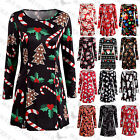 Uk Womens Christmas Snowman Dress Ladies Xmas Santa Mini Smock Dress Size 6-22
