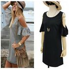 Fashion Women Lady's Strapless Lotus Sleeve Solid Knitting Shirt Dress S-3XL