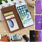 Flip Stand Genuine PU Leather Card Wallet Case Cover for Apple iPhone 7 / 7 Plus