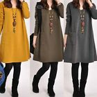 New Vintage Winter Women Long Sleeve Tunic Kaftan Soild Loose Casual Mini Dress