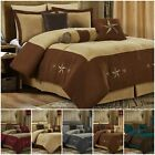 comfortable sets - 7pc Western Star Embroidery Microsuede Oversize Comforter Set or 4pc Curtain Set