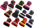 Big Bobble Knitted Ribbed Cable Stripe Pom Pom Beanie Hat Cap