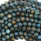 "Faceted Brown Blue Turquoise Round Beads 15.5"" Strand 4mm 6mm 8mm 10mm 12mm"