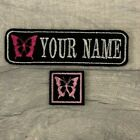 PERSONALISED 1 LINE BUTTERFLY NAME TAG EMBROIDERED PATCH BIKER BADGE BAG JACKET