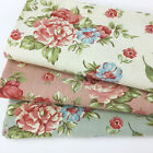 "Foral 100% cotton canvas fabric  44"" wide sold per 1/2 metre pink ivory & green"