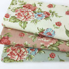"""Floral 100% cotton canvas fabric  44"""" wide sold per 1/2 metre pink ivory & green"""