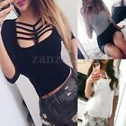 Women Blouse Hollow Out Lace Up Fashion Casual 3/4 Sleeve Tops Loose T-Shirt Top