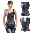 Sexy Female Black Lace Up Leather Shaper Corset Bustiers Zipper with Thong S-6XL