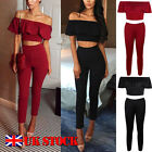 2 Piece Ladies Kimono Crop Top Jumpsuit Sleeveless Frill Playsuit Size 6-12 UK