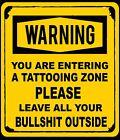 Funny Tattoo Warning Caution Danger Sign Self Adhesive Sticker