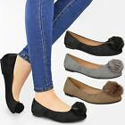 Womens Ladies Pom Pom Faux Suede Loafers Brogue Flat School Work Shoes Size 3-8