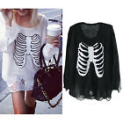 Acrylic Womens Lady Fashion Knit Sweater Printing Bone Pullover Loose Sweater