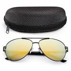 Polarized Aviator Sunglasses for Women Men Case Vintage Sports Driving Mirrored фото