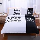 Black Bedding Set His Side & Her Side  Soft Duvet Cover and Pillowcase