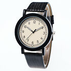 New Fashion Men's Leather Band Stainless Steel Sport Military Quartz Wrist Watch